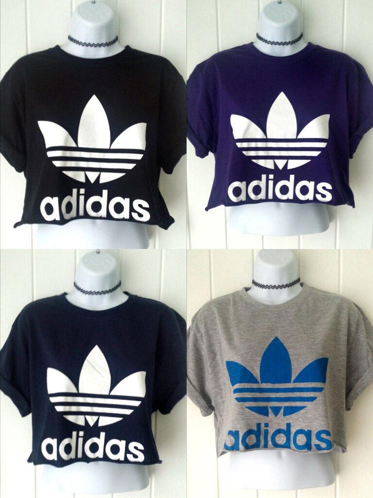 0067998fe27 NEW Reworked 90's ADIDAS ORIGINALS Crop Top T shirt S M