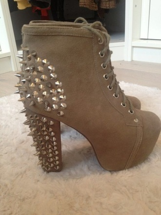 shoes jeffrey campbell lita taupe suede ankle boots