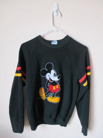 sweater crewneck mickey mouse black red yellow