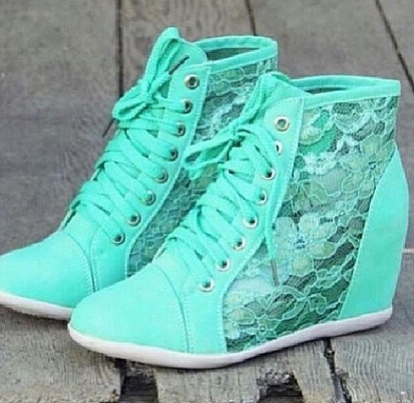 shoes wedge sneakers sneakers wedges mint mint blue lace lace wedge sneakers mint green shoes teal flowers heels high heels