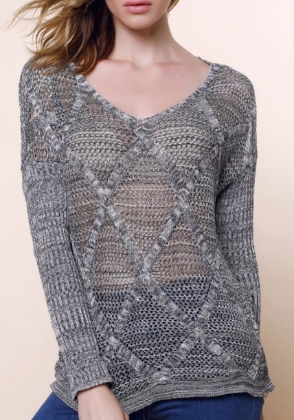 sweater grey long sleeves knitwear fashion style fall outfits trendy cool trendsgal.com