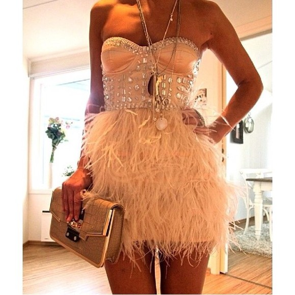 dress peach dress rose feather studded, crytsal, dress prom prom dress creme feathers beautifull loveit fur