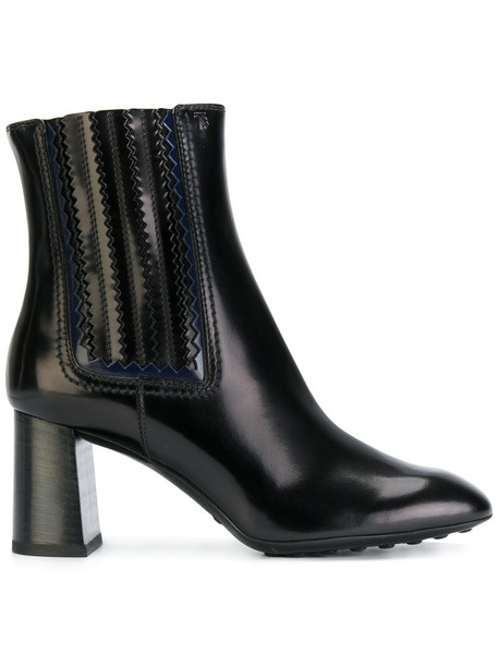 TOD'S heel women ankle boots leather black shoes