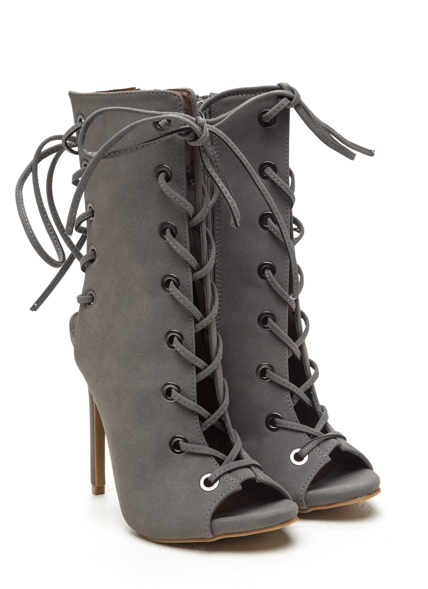 Back lace up boots - Front And Back Lace Up Booties Wine Black Grey Gojane Com