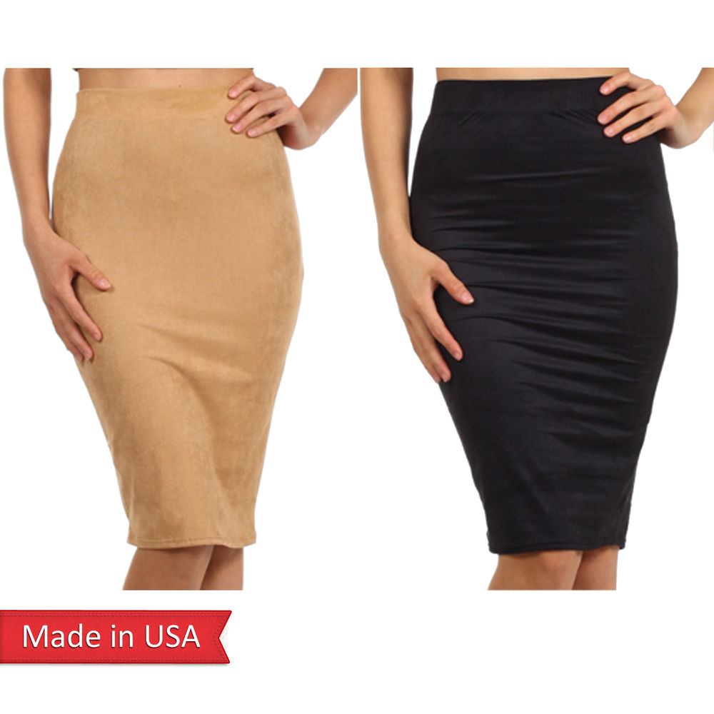 New Sexy Women Nude Camel Color Suede High Waist Knee Length Pencil Skirt USA