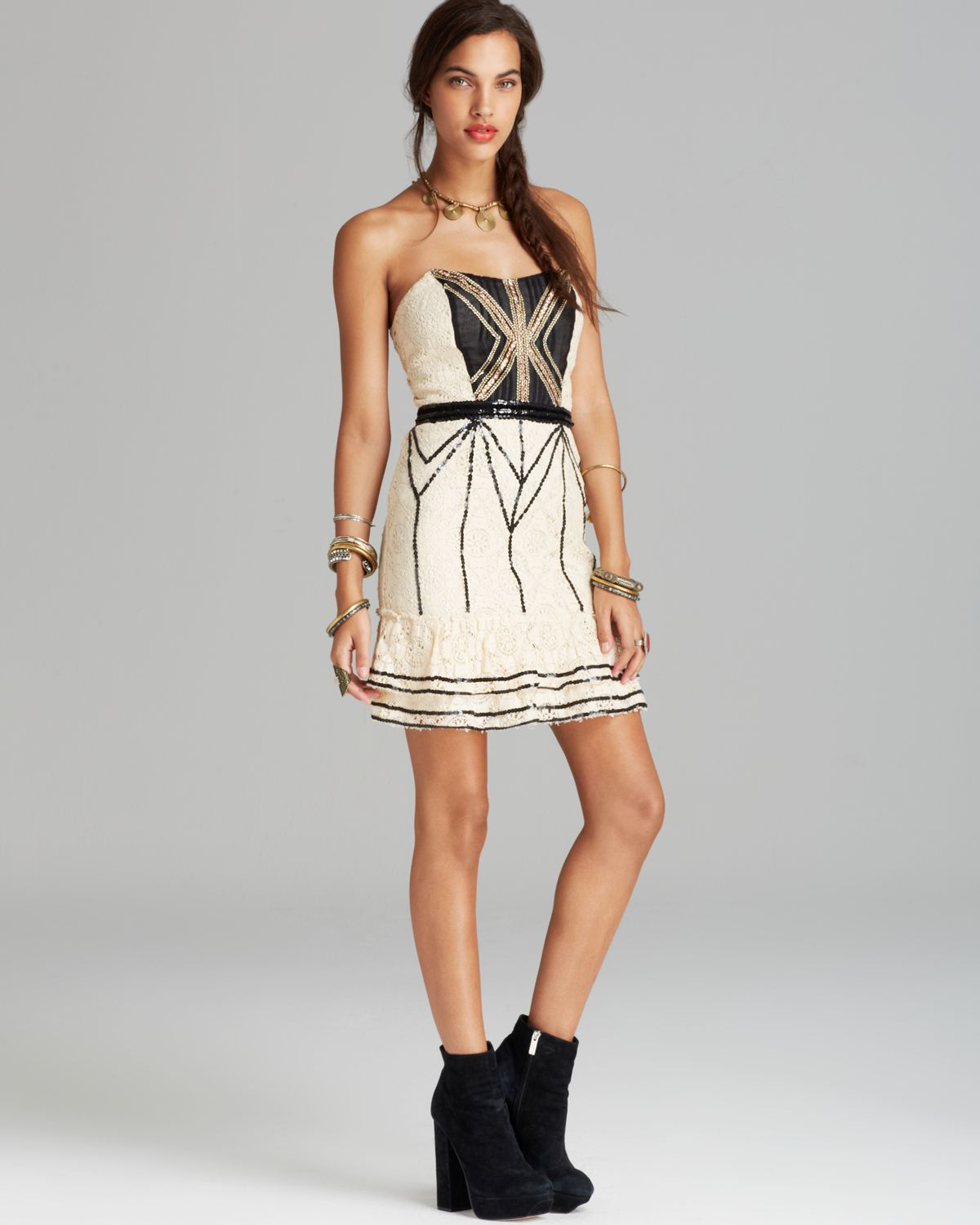 Free People Mini Dress - Vintage Lace Coquette | Bloomingdale's