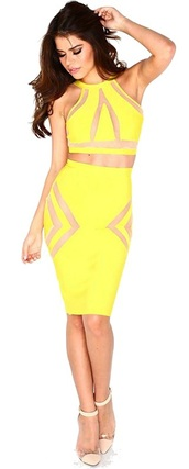 dress,dream it wear it,yellow,yellow dress,clothes,two-piece,two-piece dresses,mesh insert,mesh,transparent,see through,halter neck,halter dress,party,party dress,sexy,sexy dress,top and skirt set,yellow top,yellow skirt,cocktial,cocktail,summer outfits,pool party