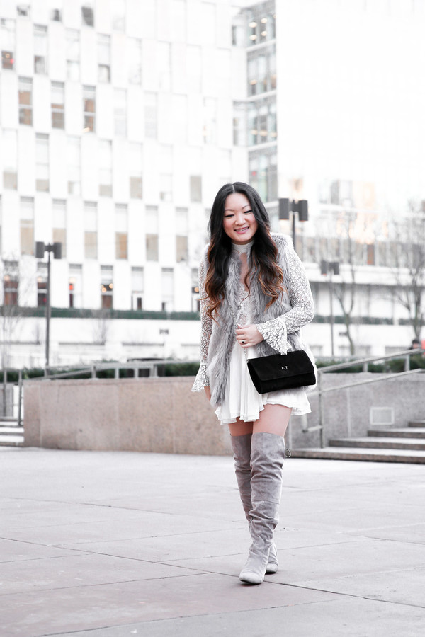 a78dbc61c87 tineey blogger dress jacket shoes bag boots grey boots over the knee boots  black bag
