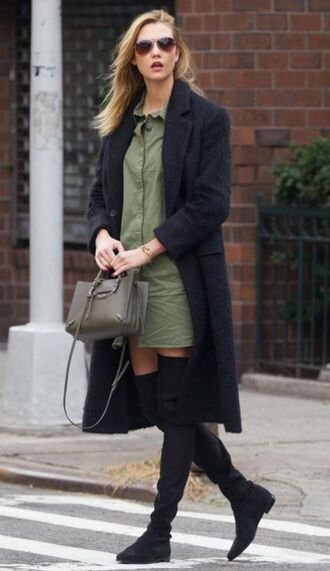 dress olive green military style coat fall outfits karlie kloss boots purse bag shoes