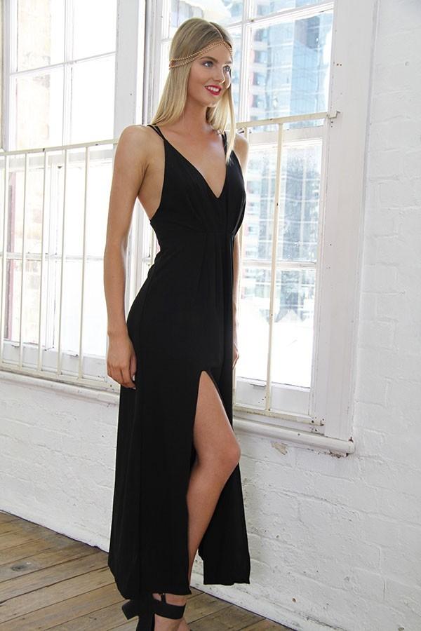 Black front split strap back maxi dress