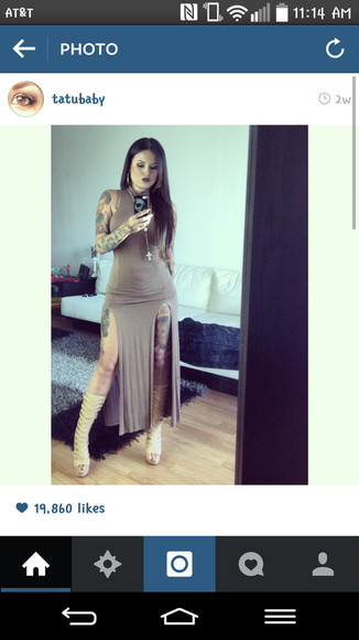 dress brown dress maxi dress tattoos slits in sides high neckline