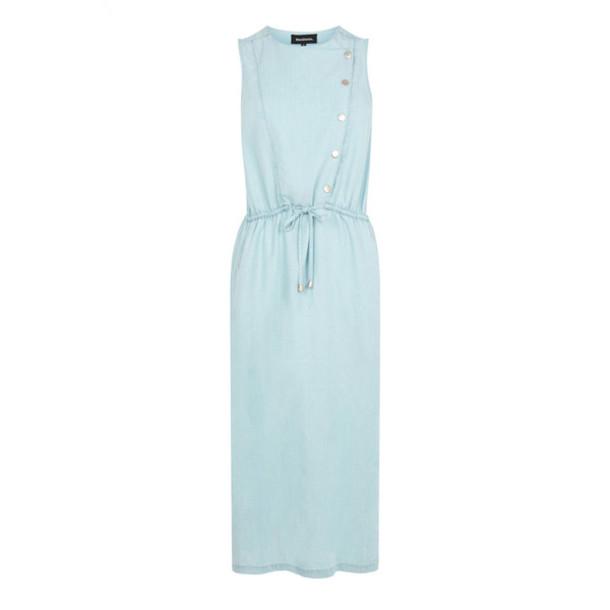 dress blue dress pastel dress sleeveless dress summer dress button up office outfits