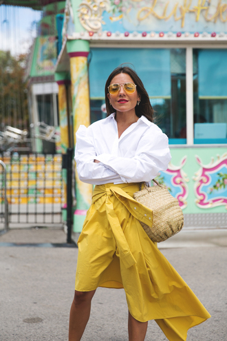 shirt yellow skirt tumblr white shirt skirt yellow asymmetrical midi skirt bag basket bag sunglasses