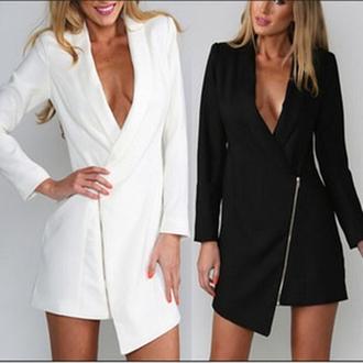 suit dress black white zip v neck dress long dress irregular long sleeves dovetail balzer coat