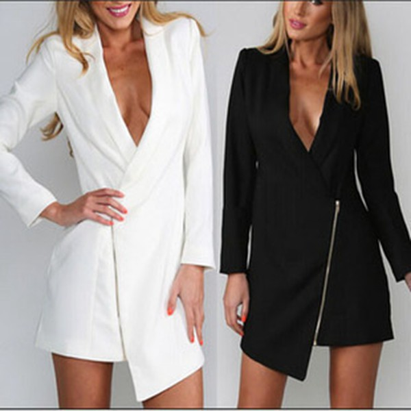 suit dress black white zip v neck dress long dress irregular long sleeves dovetail balzer coat