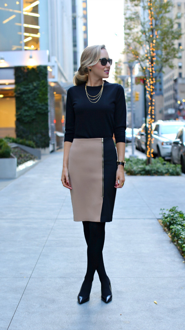 the classy cubicle skirt shirt shoes jewels