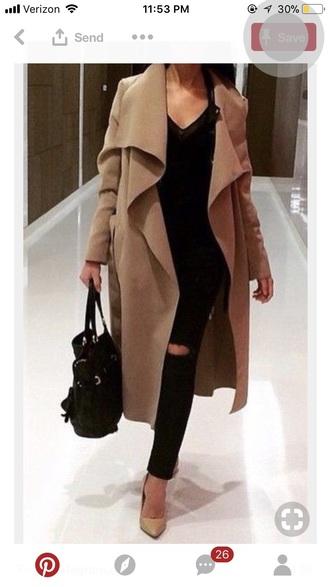 coat tan long long sleeves loose pinterest outfit