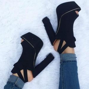 Black Peep Toe Slingback Chunky Heel Platform Sandals
