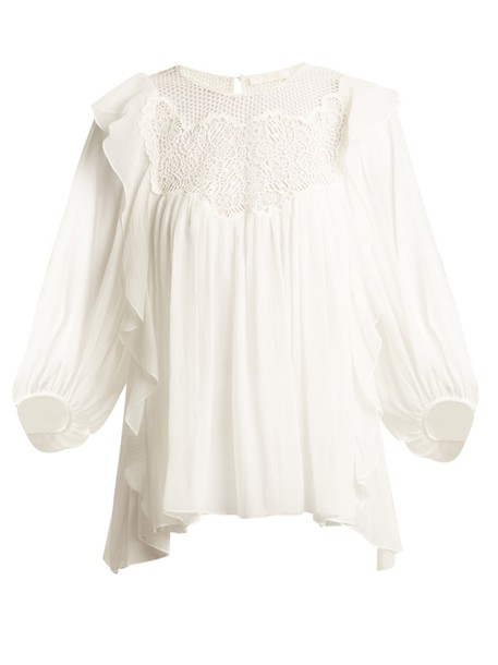 Chloe top butterfly lace silk white