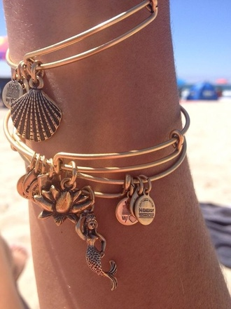 jewels bracelet alex and ani shells jewelery gold anklet shell mermaid beach bangles bands sea