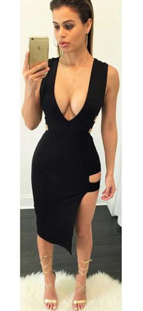 dress dream it wear it dress clothes clothes little black dress black black  dress plunge v 49b013f29