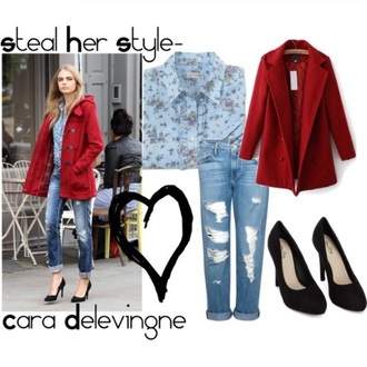 coat red red coat cara delevingne
