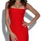 Crisscross strap bandage dress red