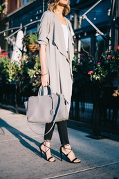 see jane,blogger,coat,jeans,t-shirt,shoes,duster coat,grey trench coat