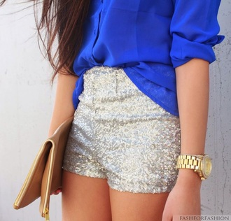 bag brown clutch gold zipper gold zippers clutch brown blouse blue see through blue see through button up blouse shorts silver sequins sparkle shorts silver shorts sequin shorts
