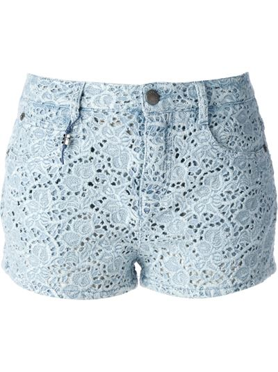 Ermanno Scervino Broderie Anglaise Denim Shorts - First Boutique - Farfetch.com