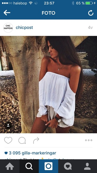 blouse summer white summer vibe off the shoulder tan flowing chiffon fashion white top chic