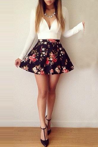 blouse white top skater skirt floral skirt black heels white crop top