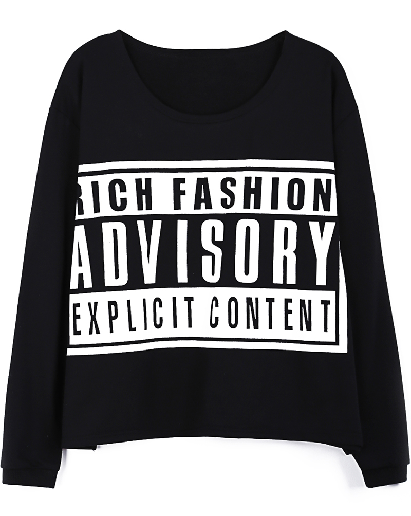Black ADVISORY Print Long Sleeve Loose T-shirt - Sheinside.com