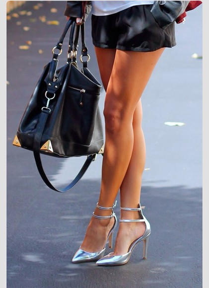 shoes high heels silver pointy toe heels