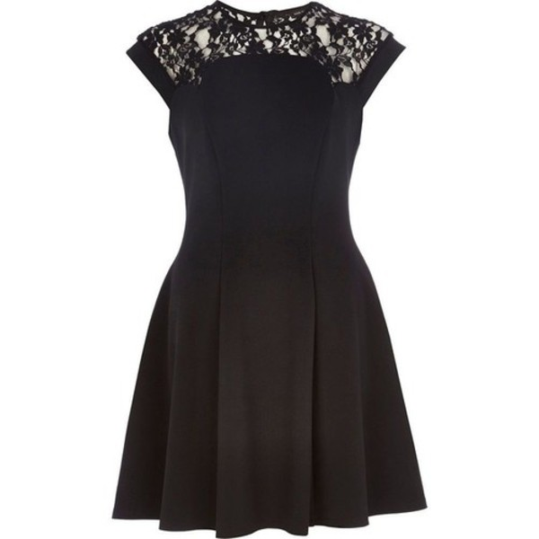 little black dress lace dress short sleeve skater skirt