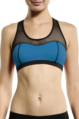 top michi blue mesh racerback sports bra bikiniluxe