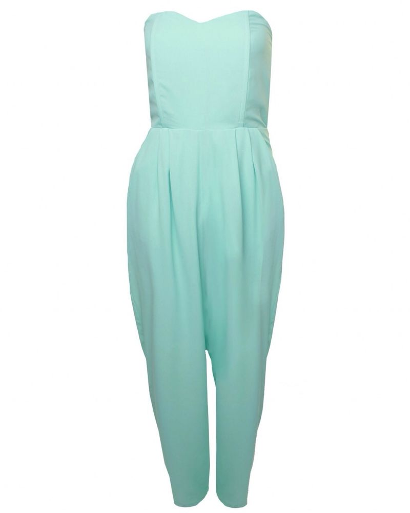 Love at TOPSHOP Mint Strapless Jumpsuit | eBay