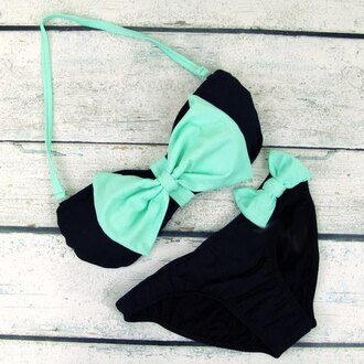 swimwear green swimwear black bow cute blue swimwear mint bandeau