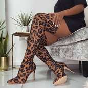 boot,brown boots,shoes,animal print,leopard print,over the knee