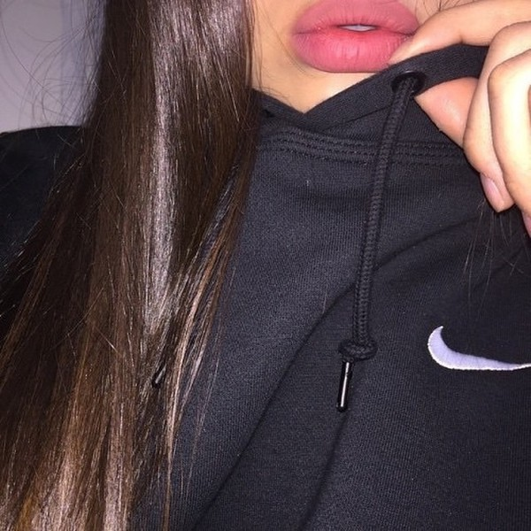 sweater nothing was the same black noir was nike hoodie earphones nail accessories make-up black hoodie nike sweater nike sportswear lipstick lip liner lips white tick jumper jacket