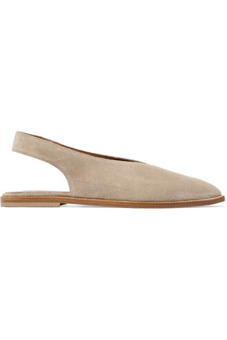 bee flats suede beige shoes