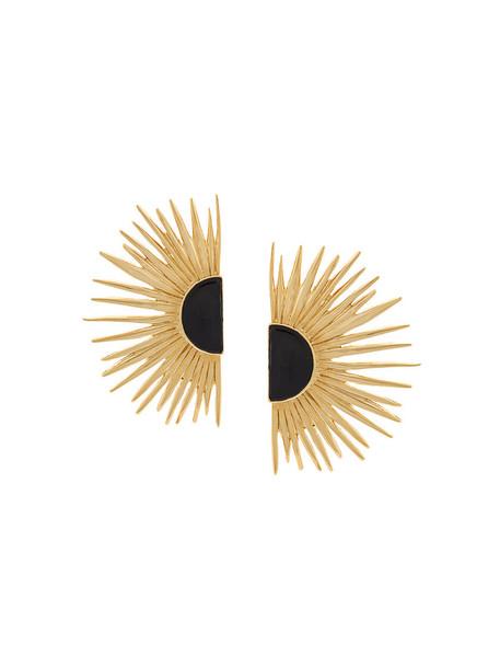 AURELIE BIDERMANN sun women earrings gold grey metallic jewels