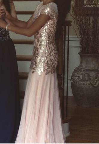dress peach dress gold dress prom dress short-sleeved dress