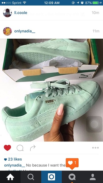 shoes puma sneakers low top sneakers sneakers mint suede tumblr tumblr outfit fashion suede sneakers pumasuede puma suede shoes low tops suede puma green shoes
