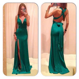 dress emerald green prom dress evening dress bow backless dress green dress satin dress slit dress crossed back crossed back dress maxi dress
