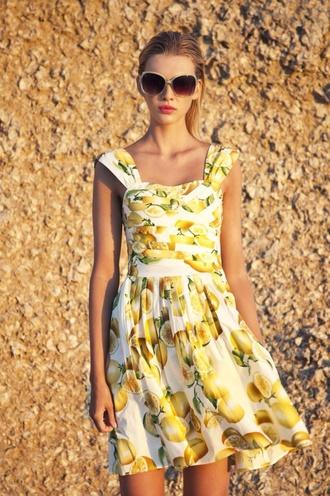 dress yellow dress white dress lemons summer dress