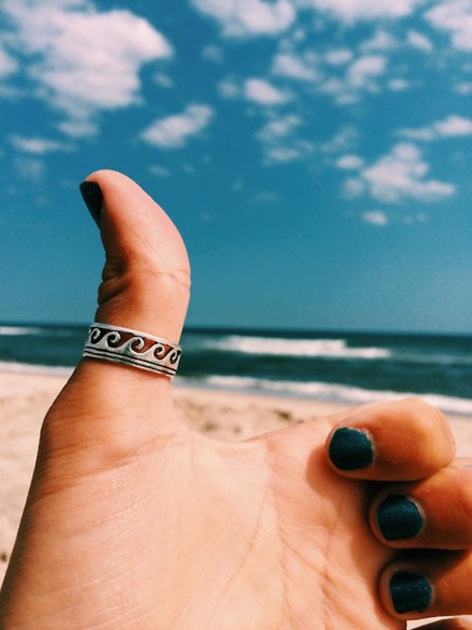 waves beach sun jewels ring silver