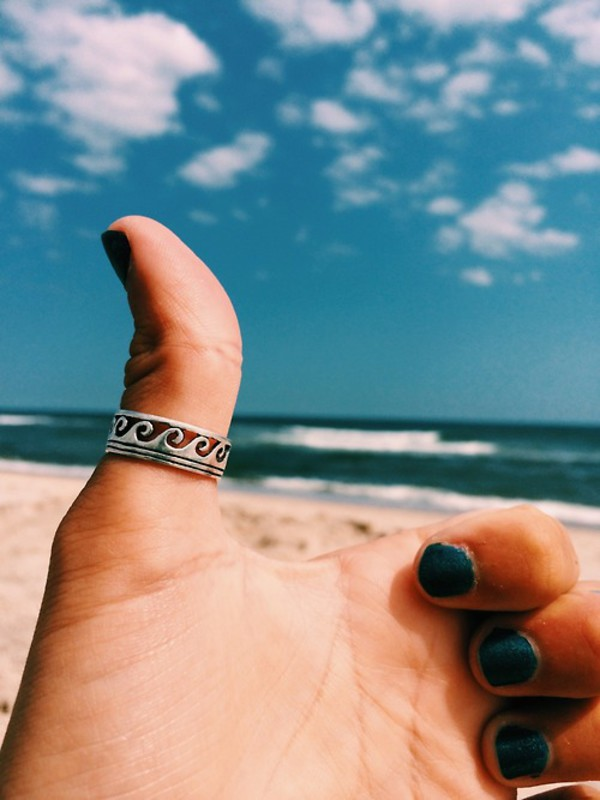 jewels ring sun beach silver waves wave wave ring