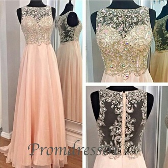 dress light pink long prom dress gold