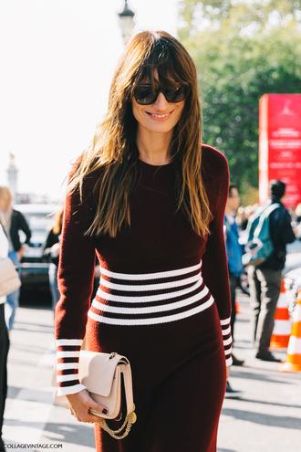 dress fashion week street style fashion week 2016 fashion week paris fashion week 2016 burgundy burgundy dress long sleeves long sleeve dress sunglasses streetstyle tumblr bag